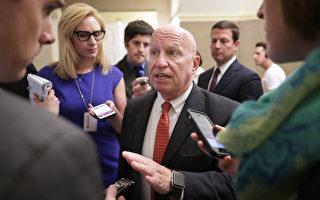 5月17日美国众议院筹款委员会主席布莱迪(图中)就川普税改方案被记者提问。(Chip Somodevilla/Getty Images)