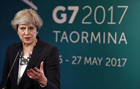英國首相梅5月26日在G7峰會中,舉行新聞記者會。( JUSTIN TALLIS/AFP/Getty Images)