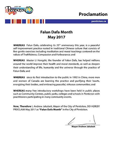 Mayor of Penticton - Proclamation