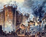 法国画家让—皮埃尔‧胡埃(Jean-Pierre Houël)的画作,描绘了1789年法国大革命之初攻占巴士底监狱的场面。(维基百科公有领域)