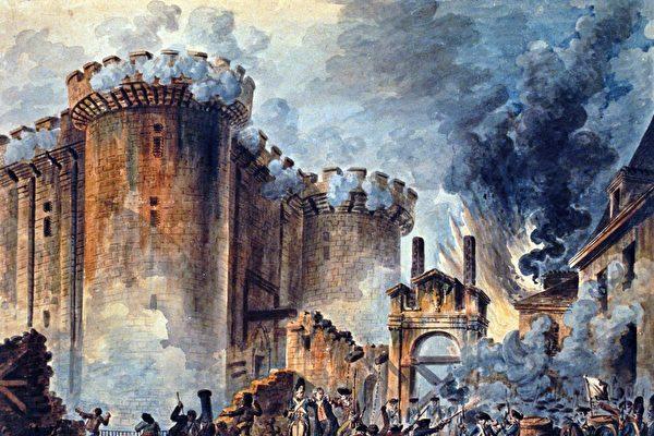 法國畫家讓—皮埃爾‧胡埃(Jean-Pierre Houël)的畫作,描繪了1789年法國大革命之初攻占巴士底監獄的場面。(維基百科公有領域)