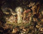 《仲夏夜之梦》,《奥布朗与提泰妮娅的争吵》,约瑟夫.诺埃尔.佩顿绘。(维基百科)