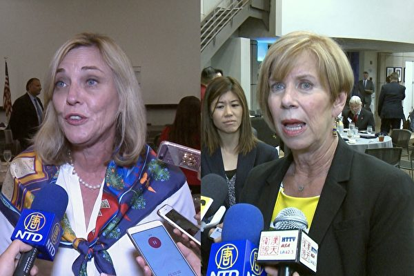 左为洛县县政委员凯瑟琳‧巴杰(Kathryn Barger),右为县政委员韩珍妮(Janice Hahn)。(李子文/大纪元)