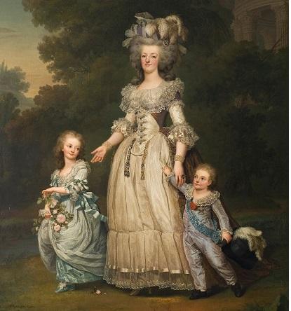 阿道夫.乌瑞克.维特穆勒,(Adolf Ulrik Wertmüller),《皇后玛丽.安托奈特与她的两个孩子漫步于特里亚农花园( La reine Marie-Antoinette avec ses deux enfants marchant dans le parc de Trianon)》, 1785, 油彩于帆布, 1,94 x 2,74 m, 瑞典国家博物馆, 斯德哥尔摩.(公有领域)