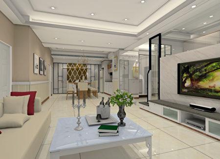 系統家具融合室內設計。實例一、蘆竹宜誠國玥客餐廳(3D圖)。(愛菲爾提供)