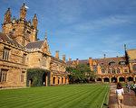 在欧洲一个颇具声望的排名榜中,五所澳洲大学跻身于全球前100所研究力强学府,其中以悉尼大学(USYD)的排名最靠前,为第29位。图为澳洲悉尼大学。( Brendon Thorne/Getty Images)