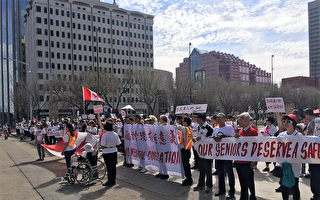 大約350名愛城市民聚集在加拿大大樓門前,抗議市議會通過支持在市中心設立三個毒品注射點的決議。(網友提供)
