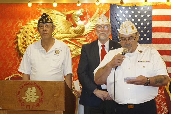 余国华(左一)被任命为波士顿华裔退伍军人会328分会新会长(廖述祥/大纪元)
