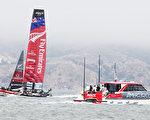 图为旧金山湾举行的美洲杯帆船赛。(丘石/大纪元)