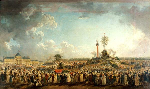 皮埃尔-安托万‧迪马西(Pierre-Antoine Demachy)的一幅绘画描绘了1794年至上节的场面。(公有领域)