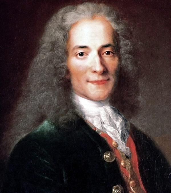 法国启蒙运动哲学家、反宗教作家伏尔泰(原名弗朗索瓦—马利‧阿鲁埃,François-Marie Arouet,1694—1778)画像,尼古拉‧德‧拉吉利叶赫(Nicolas de Largillière)作。(公有领域)