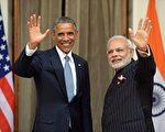 2017年6月,印度总理莫迪(Narendra Modi)将首次会晤美国新总统川普。图为2015年1月,莫迪跟美国前总统奥巴马在新德里会晤。(PRAKASH SINGH/AFP/Getty Images)