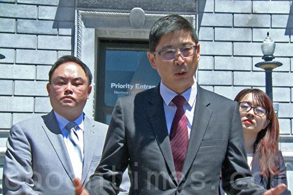 舊金山華裔民主黨主席朱元吉表示,將統一協調全市反對大麻藥店的活動。(大紀元)