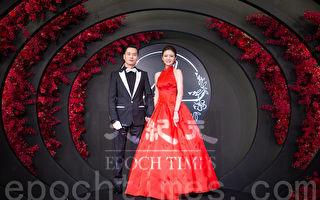 艺人安以轩(右)与澳门德晋集团CEO陈荣炼(左)6月23日在台北举办婚宴。(陈柏州/大纪元)