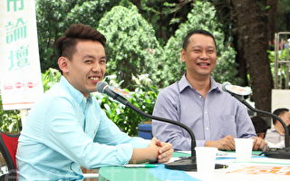 刘细良(右)指,新一届政府的班子及行会成员,多是旧人过渡,忧虑林郑新班子延续梁振英施政。(蔡雯文/大纪元)