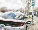 硅谷圣荷西路旁的电动车充电桩。(大纪元资料图片)