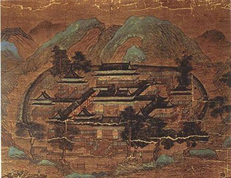 唐,王維,《輞川圖》局部。(公有領域)