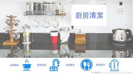 朴子醫院呼籲地區民眾,做好廚房清潔,注意乾淨飲水及飲食環境衛生,以預防傳染病。(朴子醫院提供)