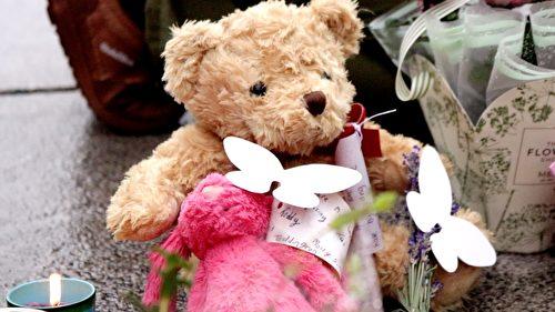 在民众献上的一束束花中,一个绒毛玩具熊和一个玩具兔子很引人注目。(任真/大纪元)