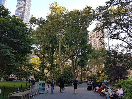麦迪逊广场公园一景,右后方建筑为熨斗大夏(戴安/大纪元)