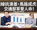 """时代力量立委徐永明(左)28日举行记者会表示,台湾道路标线""""抗滑系数(BPN)""""太差,是机车雨天打滑自摔事故的主因之一。(陈柏州/大纪元)"""