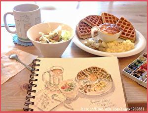 淡彩速写 / 店家的松饼和咖啡(图片来源:作者 邱荣蓉 提供)