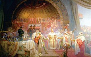 慕夏的《斯拉夫史詩》有一幅描述歐塔卡二世主持姪女和匈牙利王子的婚禮之作。(《捷克經典》/柿子文化)