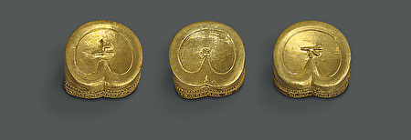 西汉马蹄金三枚,江西省文物考古研究所提供。(The Metropolitan Museum of Art)