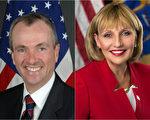 图:民主党候选人墨菲(Phil Murphy,左)和共和党候选人关达娜(Kim Guadagno,右)。(大纪元合成图片)