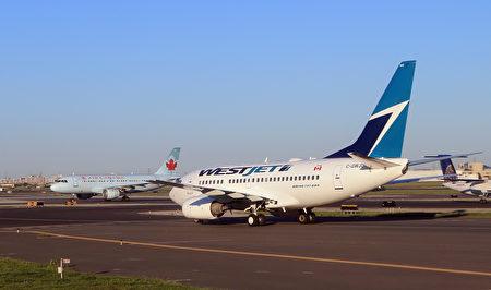 图为西捷航空一驾准备起飞的班机。(Bruce Bennett/Getty Images)