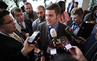川普計劃提名金融界精英斯潘塞出任海軍部長。圖為2月23日在參加美國保守派政治行動會議時,斯潘塞接受記者提問。(Chip Somodevilla/Getty Images)