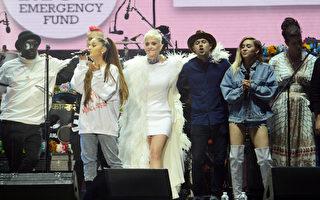 美国歌手亚莉安娜(Ariana Grande)在曼城恐袭发生13天后于6月4日重回曼彻斯特,多位国际一线明星同台演出,(从左到右) Taboo、Ariana Grande、Katy Perry、Niall Horan、Miley Cyrus 和 Imogen Heap。(Getty Images/Dave Hogan for One Love Manchester)