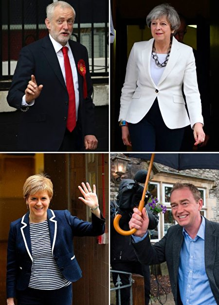 This combination picture created in London shows opposition Labour party leader Jeremy Corbyn (top L) voting in north London, British Prime Minister Theresa May (top R) voting in Maidenhead, SNP leader Nicola Sturgeon (bottom L) after voting in Glasgow and Liberal Democrat leader Tim Farron arriving to vote in Kendal (bottom R) on June 8, 2017 for the general election. Polls opened in Britain today in an election Prime Minister Theresa May had expected to win easily but one that has proved increasingly hard to predict after a campaign shadowed by terrorism. / AFP PHOTO (Photo credit should read DANIEL LEAL-OLIVAS,BEN STANSALL,ANDY BUCHANAN,OLI SCARFF/AFP/Getty Images)