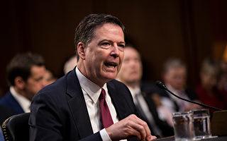 司法觀察主席費通(Tom Fitton)6月14日寫信給FBI代理局長麥卡貝,說科米可能違反了聯邦記錄法。 圖為科米在參議院作證。(Drew Angerer/Getty Images)