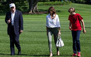 """6月18日,美国总统川普从戴维营返回白宫,他头戴白帽,上面标有""""让美国再次强大""""的字样。(Zach Gibson/Getty Images)"""