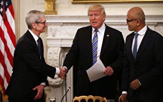 周一(6月19日)川普總統在與科技界CEO的會議上譴責朝鮮政權。 (NICHOLAS KAMM/AFP/Getty Images)