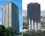 倫敦格倫菲爾塔樓6月14日凌晨起火,造成58人死亡或失蹤。圖為該塔樓遭受火災前後對比圖。(左:R Sones/維基百科。右:TOLGA AKMEN/AFP/Getty Images。大紀元合成)