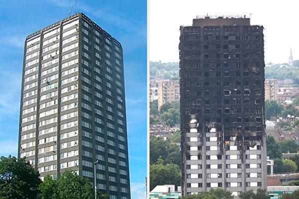 伦敦格伦菲尔塔楼6月14日凌晨起火,造成58人死亡或失踪。图为该塔楼遭受火灾前后对比图。(左:R Sones/维基百科。右:TOLGA AKMEN/AFP/Getty Images。大纪元合成)