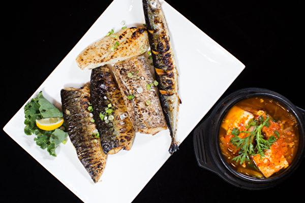 烤鱼套餐可在青花鱼、带鱼、鱍鱼和鲑鱼中任选三种。(餐厅提供)