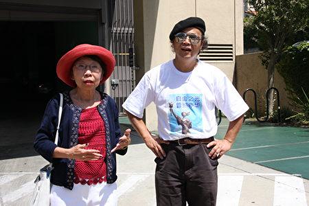 洛杉磯人權組織視覺藝術家協會 負責人劉雅雅與六四雕塑家陳維明於中領館前發表紀念六四演說,呼籲中共停止迫害,重視人權。(徐綉惠/大紀元)