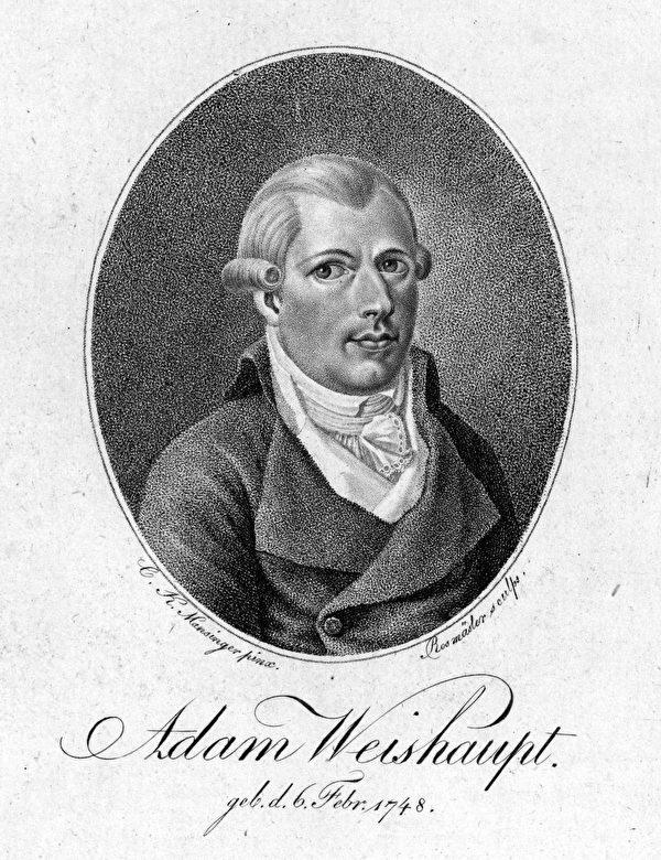 1776年创立巴伐利亚光照帮的帮主亚当‧魏萨普(Adam Weishaupt,1748—1830)版画肖像。(公有领域)