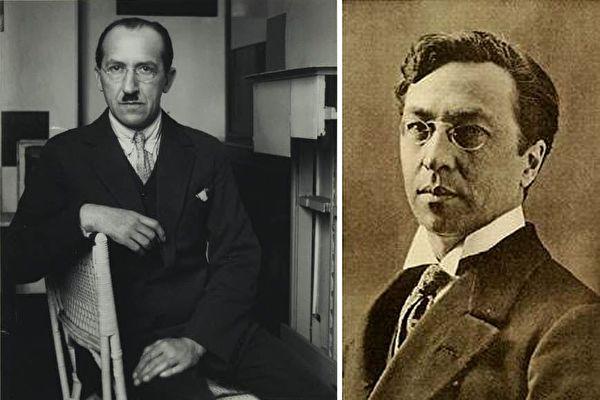 抽象艺术家皮特‧蒙德里安(Piet Mondrian,左)否定个人特色在艺术中的重要性。右为其同道——抽象绘画的先驱瓦西里‧康定斯基(Wassily Kandinsky)。(公有领域)
