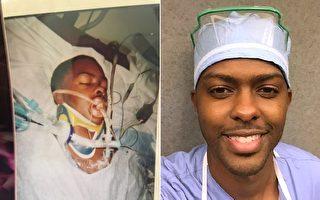 当年生命垂危的年轻人,9年后实现夙愿,就在他做手术的科室当上了医生。(Courtesy of Kevin Morton Jr.)