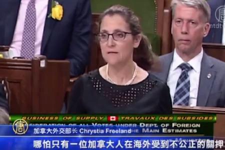 加拿大外交部長方慧蘭回答就孫茜案的提問。(新唐人電視台)