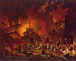"""画家尼古拉—安托万‧陶奈(Nicolas-Antoine Taunay)的作品《地狱中断头台的胜利》(Le Triomphe de la Guillotine en Enfer,1795),表现法国大革命期间的""""恐怖统治""""有如地狱场景。(公有领域)"""