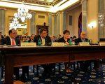 美国汽车制造商连盟CEO贝恩沃尔(左1)在6月14日的国会听证会上表示,自动驾驶技术将带来众多优势,但是规章制度仍需改善。(石青云/大纪元)