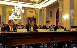 美國汽車製造商連盟CEO貝恩沃爾(左1)在6月14日的國會聽證會上表示,自動駕駛技術將帶來眾多優勢,但是規章制度仍需改善。(石青雲/大紀元)