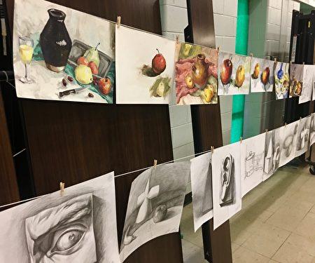 明慧学校学生绘画展。(明慧学校提供)