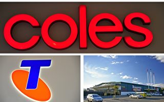 澳洲本土有三家公司,超市Coles、澳洲電訊Telstra、五金連鎖店Bunnings入選。(大紀元合成圖)