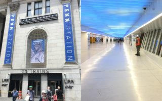 左:新賓州車站出入口。右:候車大廳。 (鐘鳴/大紀元)